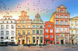 canvas print picture - Stone bas-reliefs on the walls of Gdansk