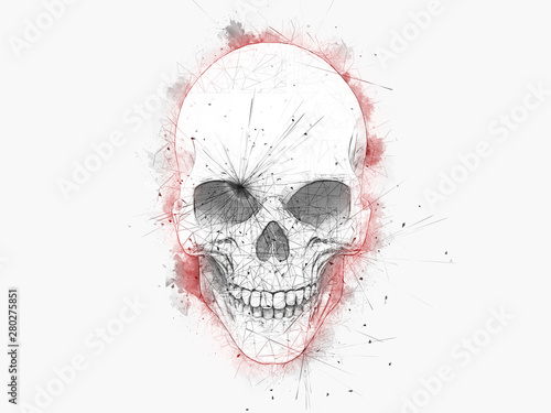 Poster Crâne aquarelle Minimalistic drawing of a skull with red water color outlines