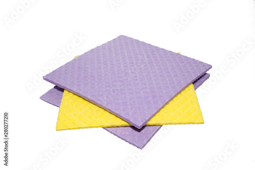 Fotomural Accessories for cleaning washcloth on a white background