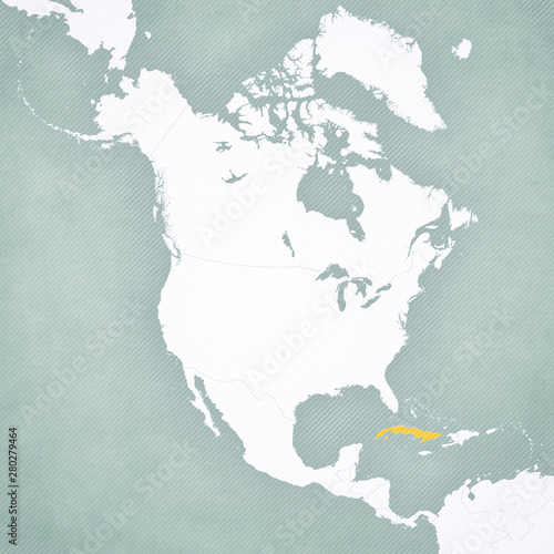 Map of North America - Cuba Canvas Print