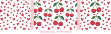 Positive Backgrounds. Vector Seamless Pattern With Red Hearts And Cherries Repeated On White. Endless Texture. Cute Characters In Kawaii Style With Smiling Faces For Your Design. Love And Friendship