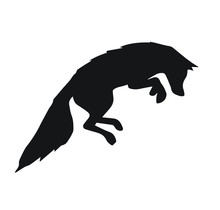 Vector Black Silhouette Of Fox Jumping Isolated On White Background