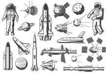 Astronomy And Outer Space, Rockets Shuttles Icons