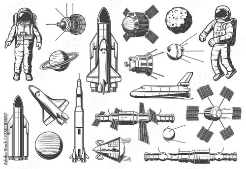 Astronomy and outer space, rockets shuttles icons Fototapete