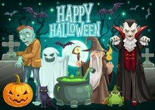 Halloween Ghost, Pumpkin, Zombie And Dracula