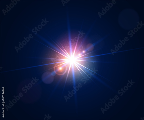 Obraz Glowing light effect. Lens flare with bokeh, glitter particles and rays. Sparkling glare of bright flash with colorful twinkle. Shining abstract background. Vector illustration. - fototapety do salonu