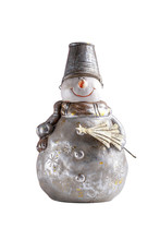Ceramic Smiling Snowman Isolated On White. Snowman With Bucket Hat And Holding Spruce Xmas Tree.