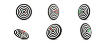 Set Of Dart Boards With Arrows On White Background