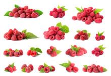 Set Of Fresh Sweet Raspberries On White Background