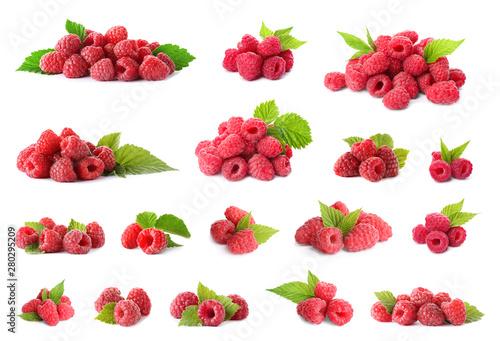 Stampa su Tela Set of fresh sweet raspberries on white background