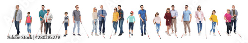 Fotografie, Tablou Set of blind people with long canes on white background