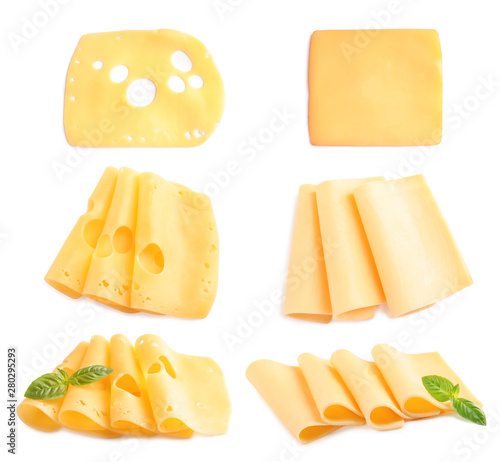 Obraz na płótnie Set of delicious cheeses on white background