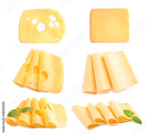 Fotografia Set of delicious cheeses on white background