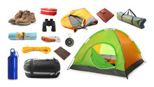 Set With Different Camping Equipment On White Background