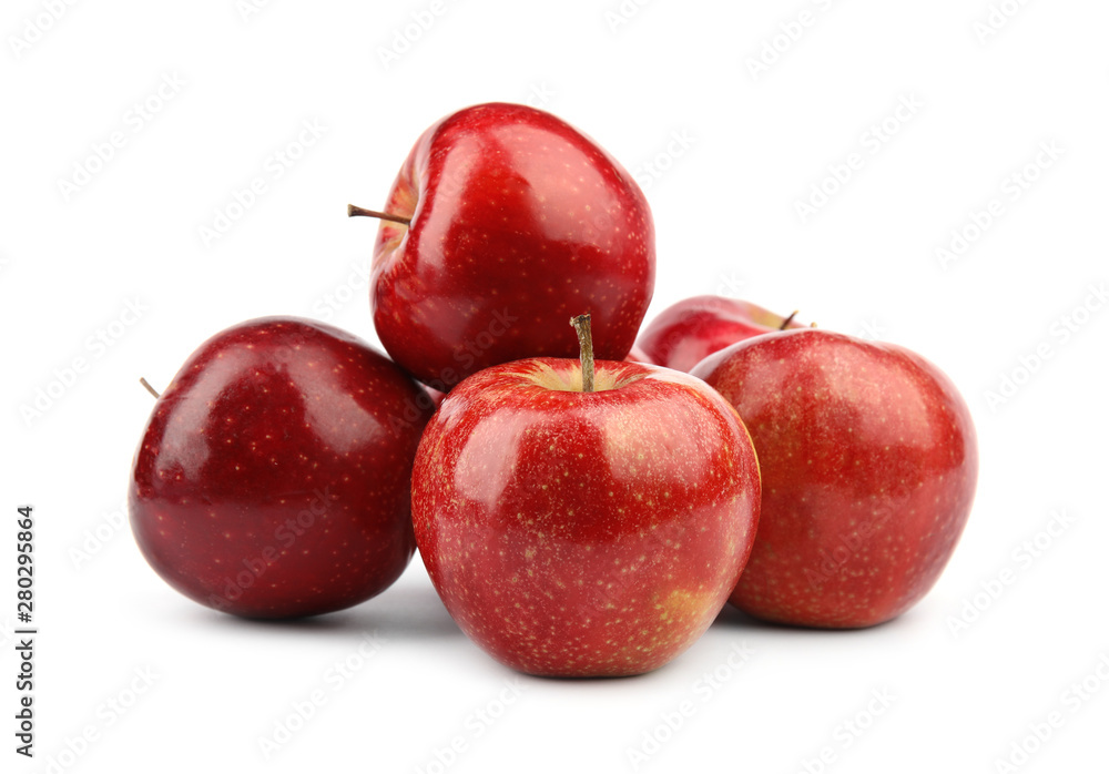 Fototapety, obrazy: Ripe juicy red apples on white background