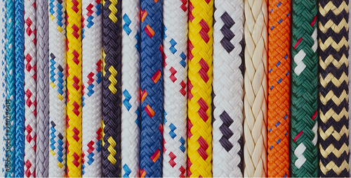 Canvas Print A lineup of colourful assorted yachting ropes