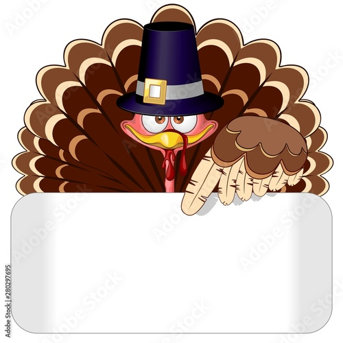Ingelijste posters Draw Thanksgiving Turkey Character whith blank panel Vector Illustration