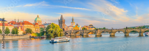 Famous iconic image of Charles bridge and Praguecity skyline Wallpaper Mural