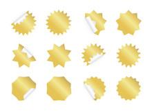 Starburst Sticker Set. Blank Golden Sunburst Badges.