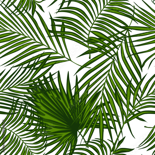 Foto op Aluminium Tropische bladeren Abstract exotic plant seamless pattern. palm leaves wallpaper.