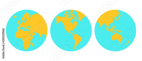 Fototapeta Vector Earth Set.  Earth globes from different angles icons. illustration isolated on white background. obraz