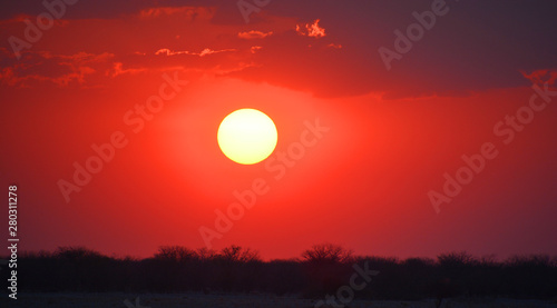 Foto auf AluDibond Rot Sunset landscape of the Namib-Naukluft National Park is a national park of Namibia encompassing part of the Namib Desert (considered the world's oldest desert) and the Naukluft mountain range.