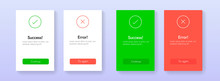 Success And Error Info Message Abstract Ui Banners. Web Tab Template For Aproved And Rejected, Yes And No, Accepted And Denied Tab Vector Design. Continue And Try Again Buttons.