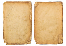 Two Stacks Of Old Distressed Blank Paper / Documents Isolated On A White Background,  Perfect For Scrapbooking, Journaling Or Mixed Media Projects