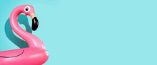 Giant Inflatable Flamingo On A Blue Background, Pool Float Party, Trendy Summer Concept, Banner Background With Copy Space