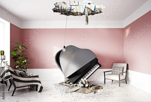 Fotografia broken ceiling and falling piano