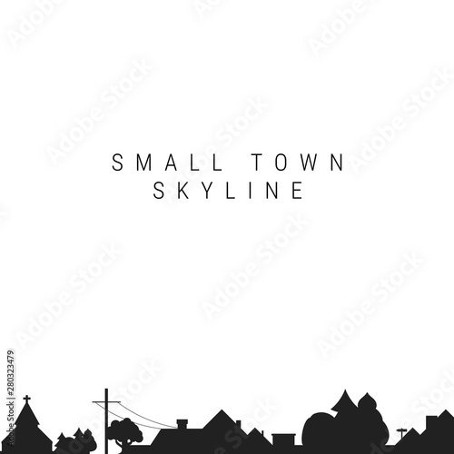 Small Town Skyline Silhouette. Vector Illustration Wall mural
