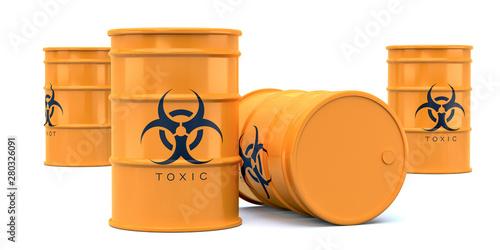 Yellow biohazard toxic waste barrels isolated Canvas