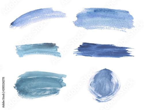 Fotografía Blue brush stroke watercolor texture