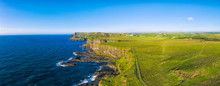 Drone Flight Panorama View Of Giants Causeway Coastline On Sunset Time Northern Ireland