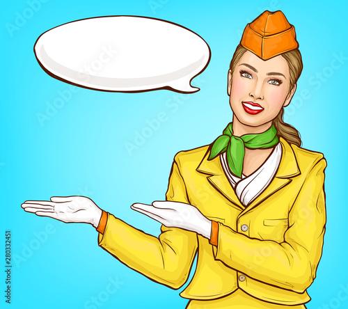 Pop art stewardess, flight attendant, air hostess girl in yellow uniform with cap, green handkerchief and speak cloud Wallpaper Mural