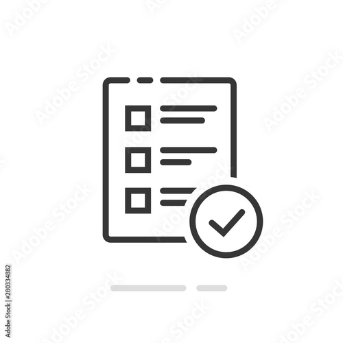 Survey or exam form paper sheet icon with answered quiz checklist and success re Canvas Print