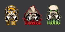 Set Of Three Bio Masks With The Inscription Toxic