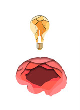 Layered Human Brain And Light Bulb Cut Out Of Paper On White Background. Idea And Innovation. Paper Cut Origami. Vector Illustration For Article, Banner, Cover And Your Design