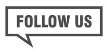 Follow Us Sign. Follow Us Square Speech Bubble. Follow Us