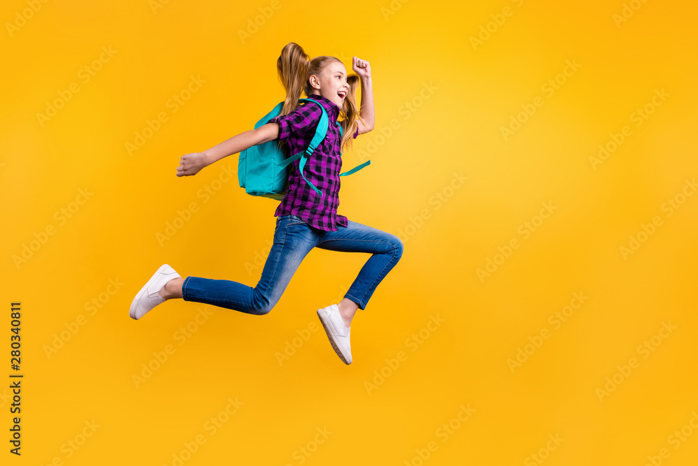 Fototapety, obrazy: Full size profile photo of little pupil jump high holidays wear casual checkered shirt jeans denim isolated yellow background