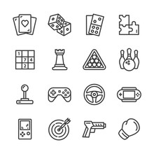 Leisure And Game Vector Line Icon Set