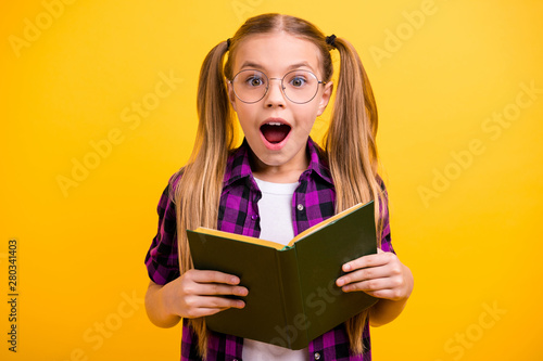 Fotomural  Photo of small lady reading adventure story unexpected final ending wear specs c