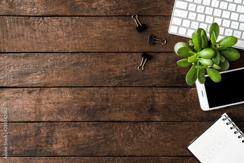 Business workspace with accessories. Office desktop. Top view Canvas Print