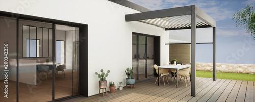 Photo vue 3d pergola bioclimatique sur terrasse bois 2