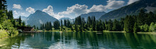 The Picturesque Untersee Lake In Arosa With The Public Swimming Pool And A Great Mountain View