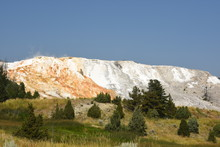 Thermal Springs And Limestone Formations At Mammoth Hot Springs In Wyoming In America