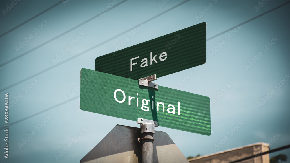 Fototapeta Street Sign Original versus Fake