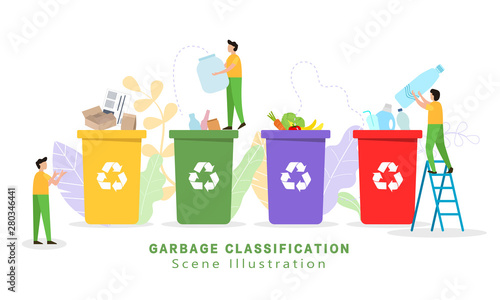 Fotografie, Obraz  Garbage sorting and garbage collection - vector illustration,small little people throw garbage in containers