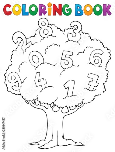 Foto auf AluDibond Für Kinder Coloring book tree with numbers theme 1