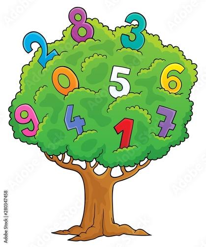 Foto auf AluDibond Für Kinder Tree with numbers theme image 1